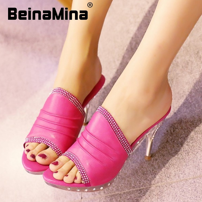 women real genuine leather platform open peep toe high heel sandals sexy fashion brand heeled ladies shoes size 34-39 R5577<br><br>Aliexpress