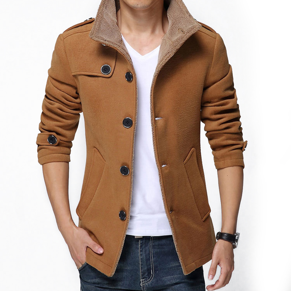 2015 Fashion Brand Men Winter Jacket Single Breasted Stand Collar Slim Fit Mens Pea Coat Casual Long 4XL