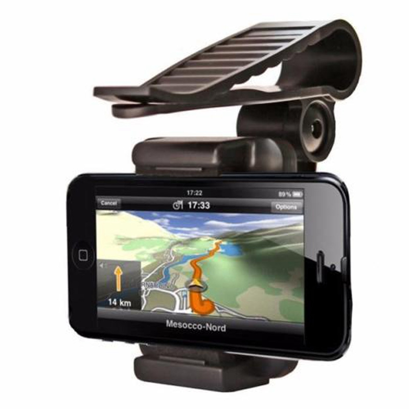 Universal Car Sun Visor Rearview Mirror Mount Phone Holder Stand Cradle for Cell Phone iphone 5s 6 plus Samsung Sony GPS Black(China (Mainland))