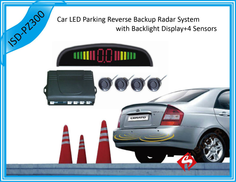 Car Numeral And Color LED Display Parking Reverse Backup Radar System With 4 Sensors 7 colors