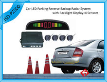 12V Car LED Parking Reverse Backup Radar System With Backlight Display 4 Sensors 6 colors Free Shipping