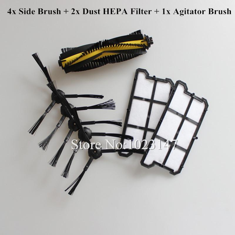 2x Dust HEPA Filter + 1x Agitator Brush + 4x Side Brush kit for Ecovacs Deebot Deepoo CR130,plus CR131,Ilife V7 Robot Cleaner