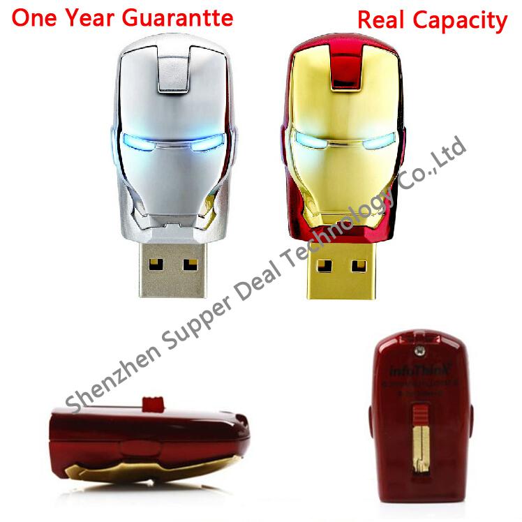 Pass H2testw !! Gold Avengers Iron Man 100% Ful Size 8GB 16GB 32GB 64G USB2.0 Flash LED lights Memory Pen Drive Stick Pendrives(China (Mainland))