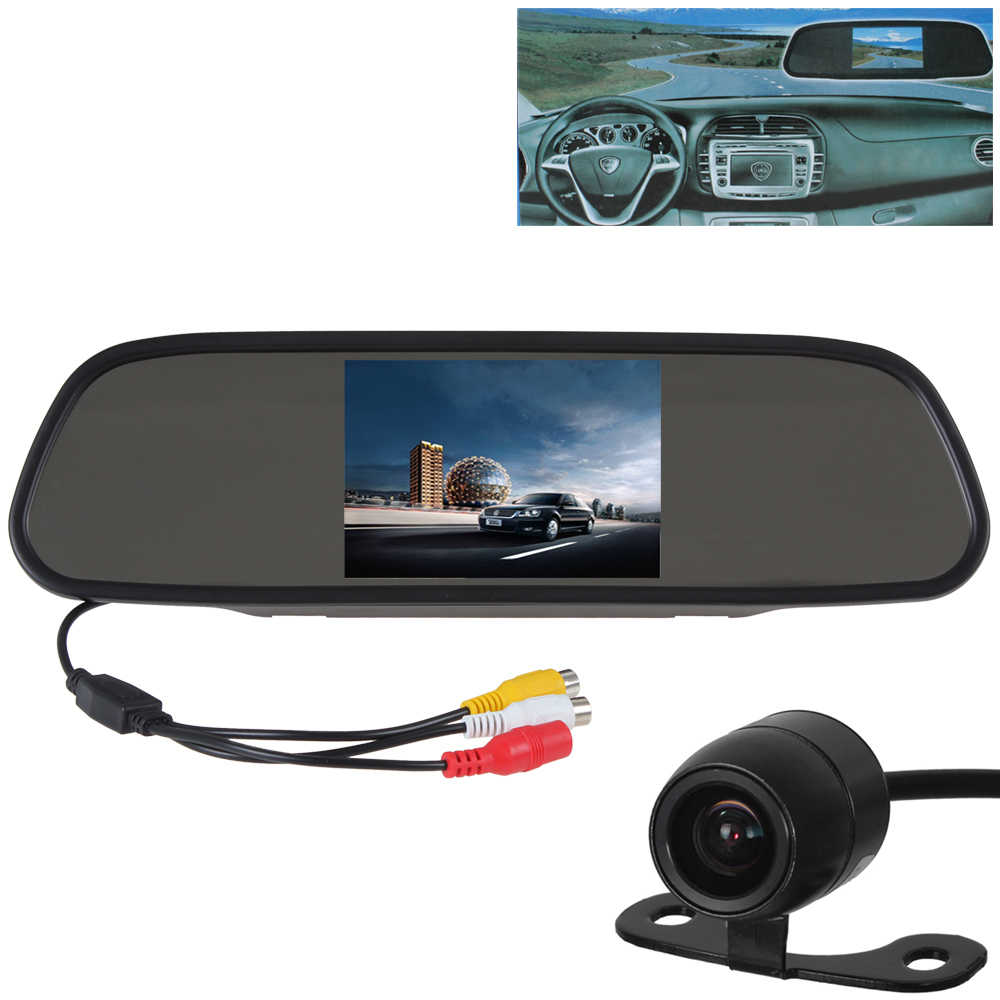 New 5 Inch Color TFT LCD Car Rearview Mirror Monitor 2 Video Input PAL NTSC with E306 18mm Waterproof Car Night Vision Camera(China (Mainland))