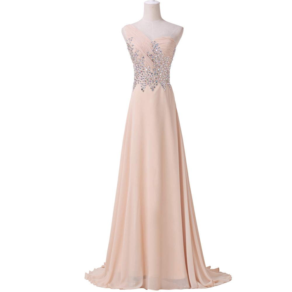 Грейс карин сексуальные женщины кристалл бисера вечерние платья одно плечо с ну вечеринку платье сексуальное платье длиной до пола шифон 4506