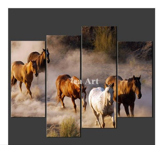 4 Piece Wall Art Painting On Canvas The Picture Of Horses Cascade Pictures For Home Modern Decoration Oil Painting printed(China (Mainland))