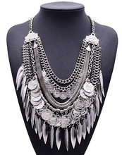 Xg179 New Hot Fashion 2015 Behomia Exaggerated Necklaces & Pendants Multi-layers Gold Tassel Statement Necklaces Coins Jewelry