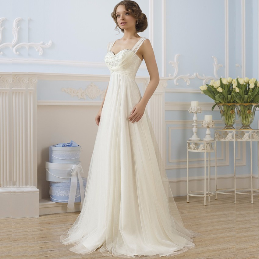 Simple Empire Maternity Wedding Dresses Tulle Honeymoon Dress Bridal Gown for Pregnant Women(China (Mainland))