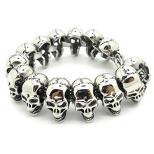 Super Cool Design Gothic 3D Skull Links Chain Bracelet High Polished 316L Stainless Steel PUNK Bangle Fashion Men's Jewelry(China (Mainland))