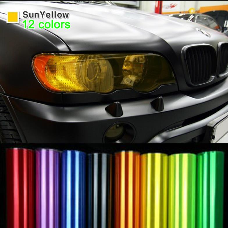 """12"""" New Shiny Auto Car Styling headlights Taillights Black Translucent film lights Change Color film 12 Color Glossy(China (Mainland))"""
