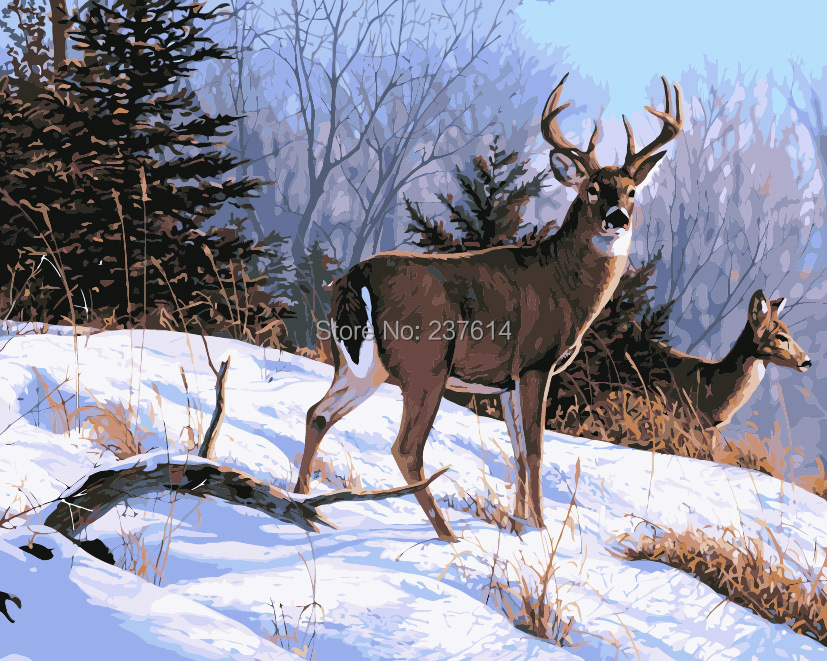 Frameless Pictures Painting Numbers DIY Digital Oil Canvas Home Decoration 40x50cm deer run snow - bellehouse store