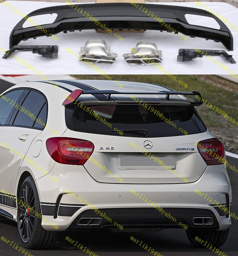 benz w176 a180 a200 a250 a260 upgrade a45 style diffuser lip muffler tip sport bumper fit - Highlight Auto store