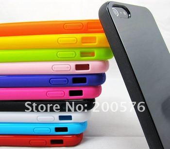 For New iPhone 5 5G Mobile Cell Phone case  High Gloss Colorful Solid TPU Soft Gel Skin case iPhone Free Shipping DHL 500pcs