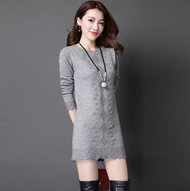 Autumn Winter Women's Cashmere Sweater Dress Plus Size Turtleneck Plaid Knit Sweater Women Winter Korean Fashion Pullovers Lady