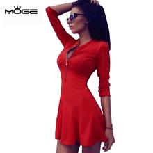 MOGE 2016 office dress women red zipper A-line work wear dress vintage elegant summer dresses sexy mini party black blue