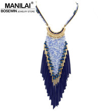 Buy MANILAI Bohemia Long Necklace Women Dress 2016 Multilayers Bead Chain Tassel Statement Necklaces & Pendants Collier femme for $5.99 in AliExpress store