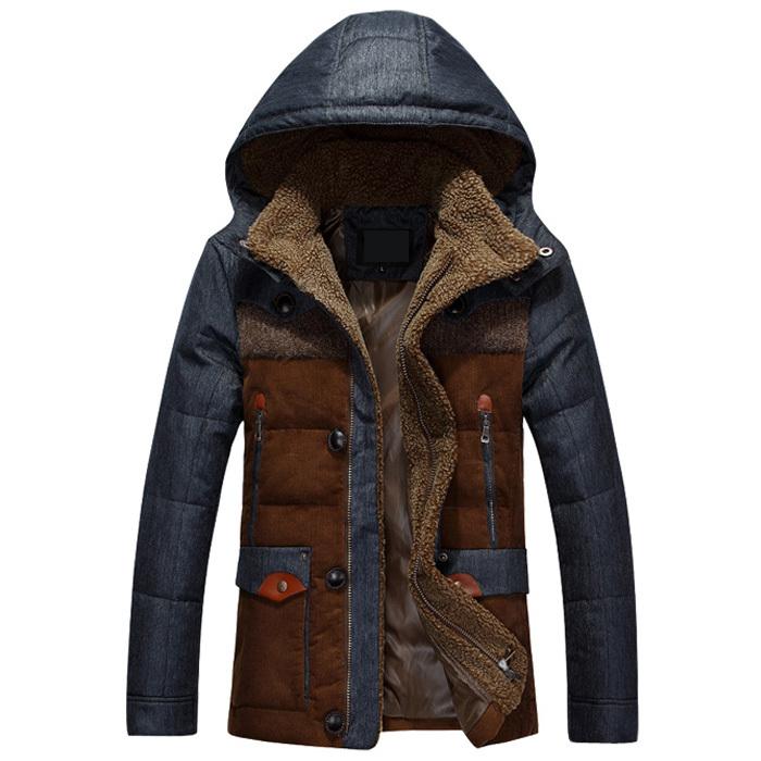 jaqueta masculina thick male down jacket Men fashion hooded down coat patchwork denim parka man wholesale(China (Mainland))
