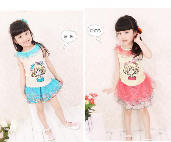 2014 New summer baby girl dress cotton light blue red lady avatar vest dress cute girls summer dress children dresses 5pcs/lot(China (Mainland))