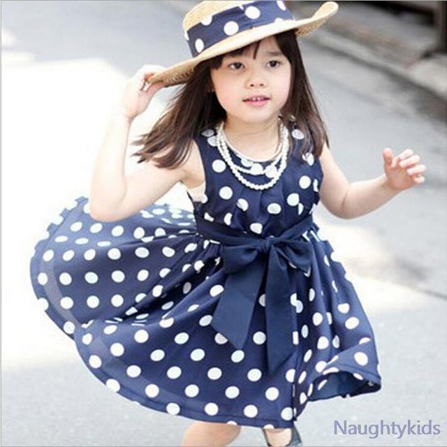 2015 лето горошек девушки платье, В течение 2 ~ 6y новорожденных девочек волновой точки платья носить свободного покроя детская одежда, 2 имеющийся цвет
