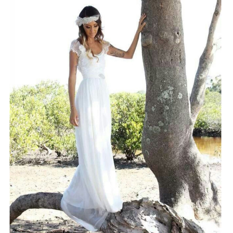 2014 fashion bohemian style beach wedding dresses short for Short beach style wedding dresses