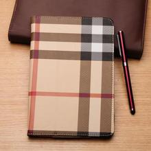 England Style Plaid New arrival Ultra thin Stand leather case for Ipad Mini flip cover with sleep function ipad mini cases(China (Mainland))