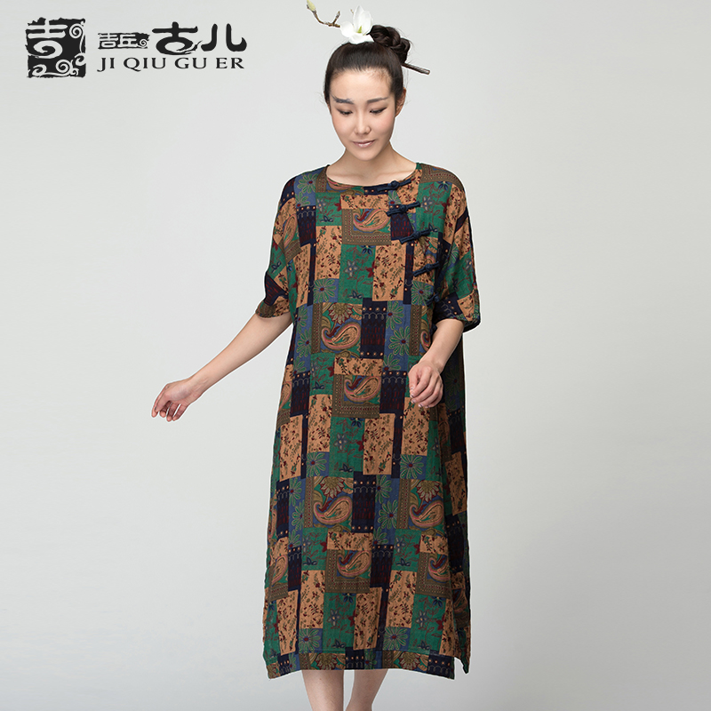 Jiqiuguer Brand Womens Short Sleeve Ethnic Dress Vintage Printed Short Sleeve Mid-long Cotton Dresses G152Y025(China (Mainland))