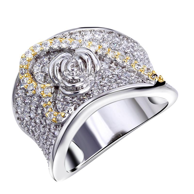 wedding ring real gold plated with cubic zirconia luxury