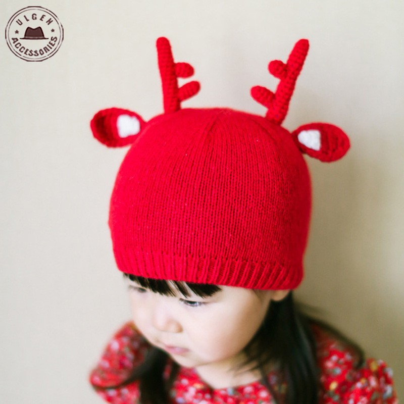 New Autumn Winter warm Baby Girl deer horn knitted hats Toddler Infant Kids Crochet Cap Christmas Elk Horn beanies Hat Red(China (Mainland))