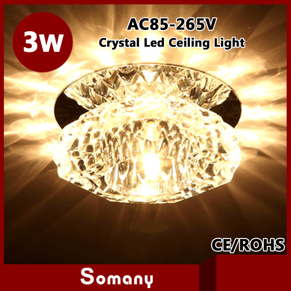 2pcs Dining Decor Furniture Lighting Led Spotlight Fixture 5 Color K9 Crystal Luminaire 3W Led Ceiling Chandelier Down Lamp(China (Mainland))