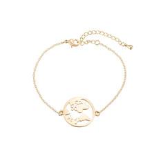 Jisensp, звено цепи, карта мира, браслеты и браслеты для женщин, глобус, браслет, шарм, для путешествий, ювелирное изделие, подарок, Wanderlust, земля, б...(China)
