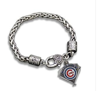 1pcs Fashion OL Style unsex couple fashion Jewelry NFL Chicago Cubs team logo Alloy Drip diy sports fan men Crude bracelet(China (Mainland))