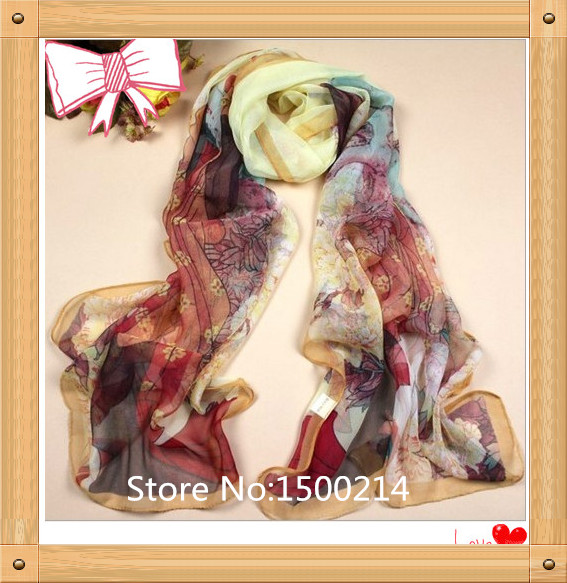 China Ethnic Flower Silk Scarf for Women Wholesale,Floral Winter Long Scarf Shawl Silk Scarves Printed Silk Beach Cover-ups(China (Mainland))