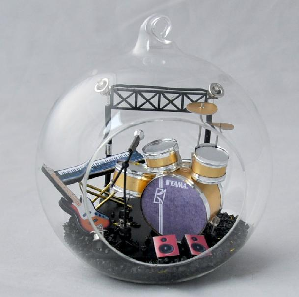 Dollhouse 3D Model Miniature Rock Band DIY Kit Light / Dispaly Glass ball - Fashion Cottages store