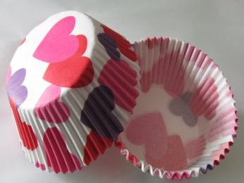 Free Shipping 100X pink Heart paper cupcake liner baking cup muffin case cake tool Valentines day baking base 5cm wall 3cm(China (Mainland))