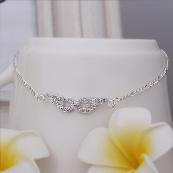 Free Shipping Wholesale 925 Sterling Silver Anklets,925 Silver Fashion Jewelry Eye-shaped insets Anklets SMTA004