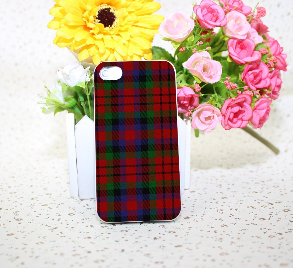 RED BLUE font b TARTAN b font SCARF FASHION White Hard phone Case Cover for iPhone