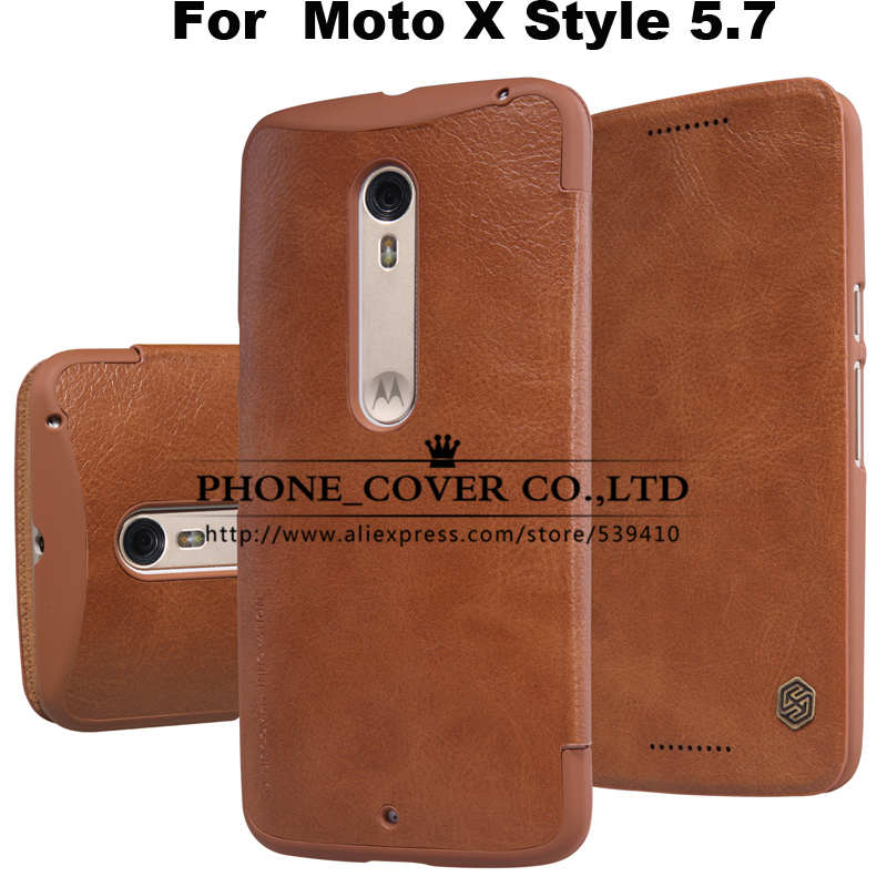 Nillkin Genuine Wallet Leather Case Cover for Motorola Moto X Style XT1572 XT1570 5.7 Phone cases For Moto X Pure Edition + Film(China (Mainland))