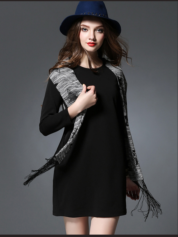 2016 New Spring Women Long Sleeve Dress And Star Scarf Tassel Slim Fit Plus Size Casual Office Dress Work Wear Robe Mujer S248(China (Mainland))