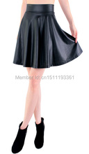 free shipping new high waist faux leather skater flare skirt mini skirt above knee solid color skirt S/M/L/XL(China (Mainland))
