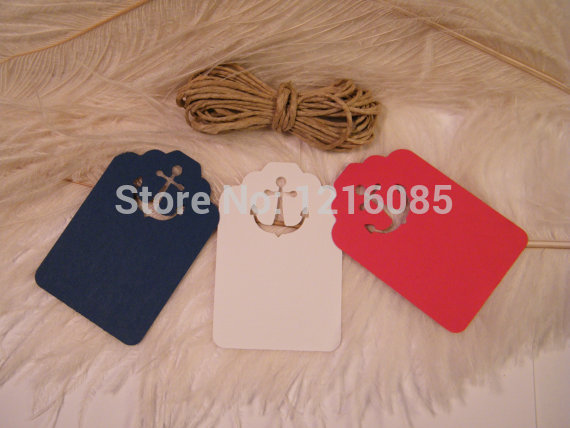 Anchor Gift tags DIY Nautical Wedding Placecards / UNattached Twine / Escort Cards / Red White Navy Wedding Wish Tree Tags(China (Mainland))