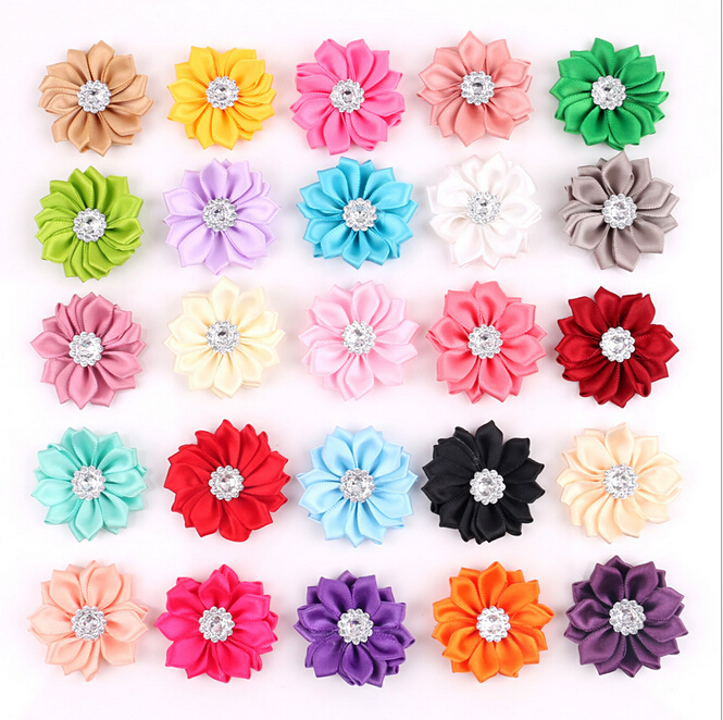 50 pcs/lot Satin Flower WITHOUT Clip Fabric Flower With Rhinestone For Kids Girls Headbands Appliques Garment Accessories A290(China (Mainland))