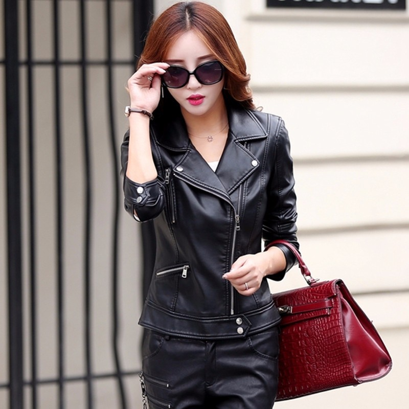 leather jacket women short design motorcycle leather jackets slim 2016 ladies black gray and red leather jackets 6602