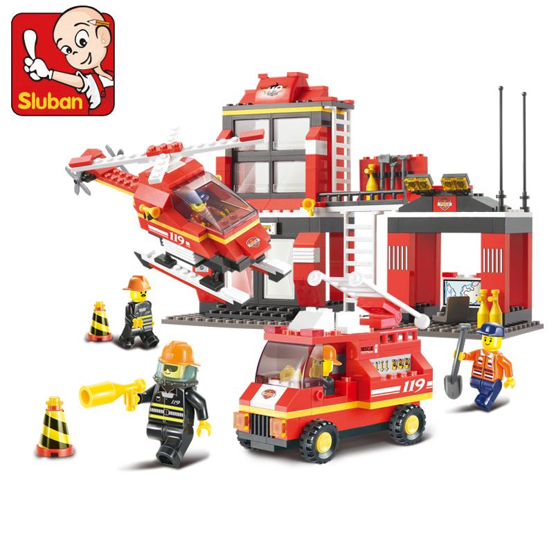 NO Original Box SLUBAN Fire series Fire department emergency 371 pcs & education DIY enlighten building blocks sets for child(China (Mainland))