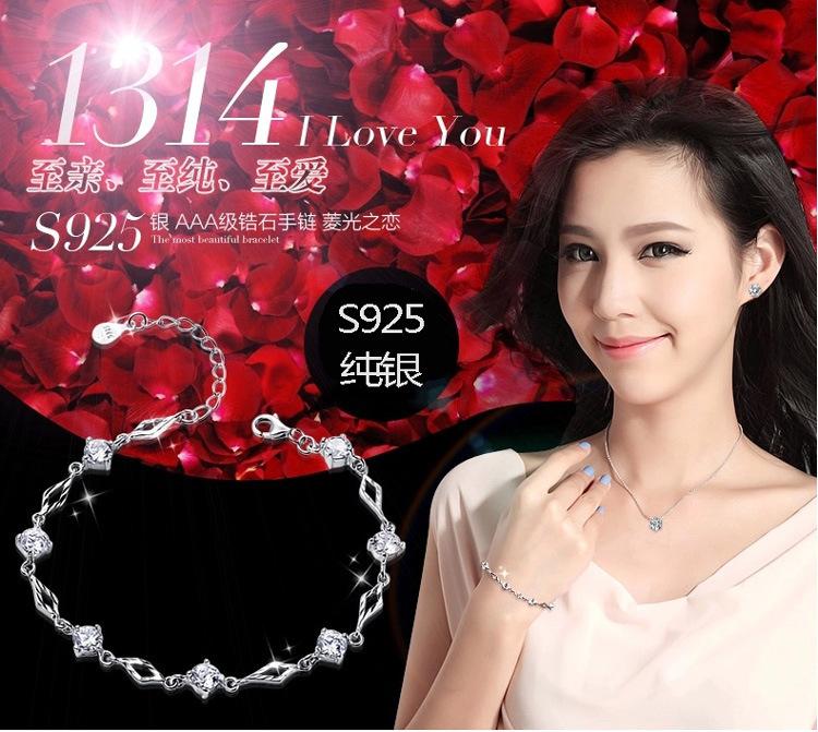s925 silver zircon crystal jewelry accessories female couple bracelets woman bracelet - lipeng Store 198 store