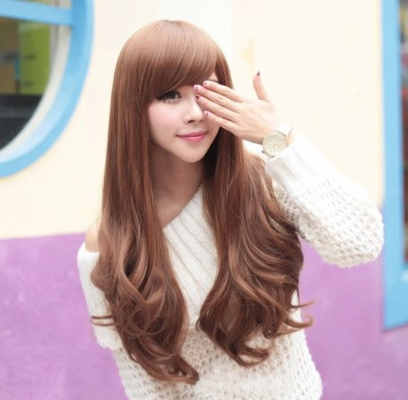cheap long blonde curly wigs fashion lady heat resistant wavy hair wig hot sales stylish women bangs - Uri's Bag Factory store