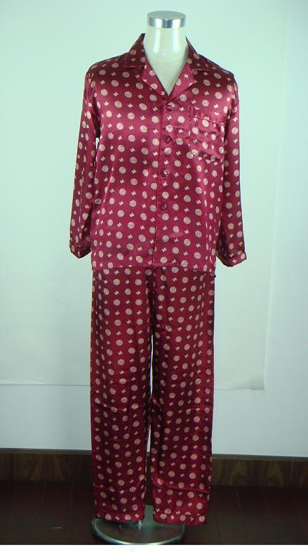 Burgundy Chinese Men's Silk Rayon 2pc Nightwear Robe sleepwear Pyjamas Sets Bath Gown L XL XXL SH0003