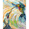 hand painted Abstract oil painting Bird Painting abstract Hummingbirds OIL palette knife impsto impressionism fine art