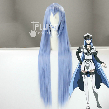 [Akame ga KILL] Esdeath Cos Wig Smoke Blue Straight Long 100cm Anime Synthetic Hair