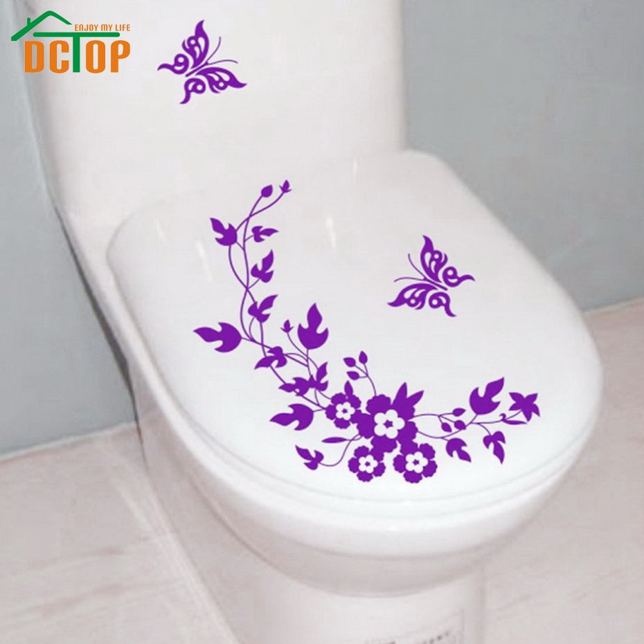 DCTOP Butterflies Flower Vine Bathroom Vinyl Wall Stickers Toilet Stickers Waterproof Adhesive Tile Wall Decals Decorative(China (Mainland))