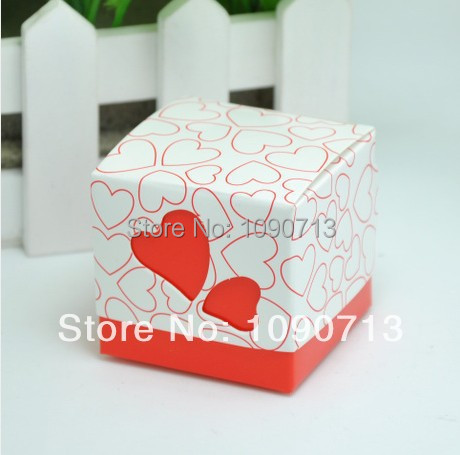 Whole Sale 100X Lovely Larger Red Square Candy Box With Hollow Heart Wedding Favor Box Marriage Party Boxes Ribbon Included